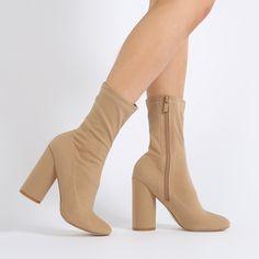 Elsa Sock Fit Round Heel Ankle Boots in Navy Velvet