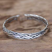 Discover unique handcrafted treasures. Every purchase will help UNICEF save and improve children's lives and help support talented artisans. Men's sterling silver cuff bracelet, 'Flowing Water'