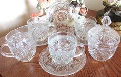 Vintage Cristal D' Arques Durand 3 Tea Cups by VintageGlassEscape
