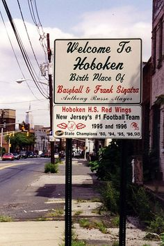 "Someday I would like to go to HOBOKEN,NEW JERSEY! While there of course go to Carlo's Bakery to see the ""Cake Boss"" Buddy and his family! Jersey Boys, New Jersey, Manhattan, Brooklyn, East Coast, Night Life, Places To See, Growing Up, New York City"