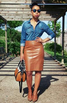 Leather and Jeans  Shirt: Lefties; Skirt: Stradivarius; Mail:… Visit Her Style Guide for more