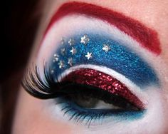 Captain America eyeshadow this is awesome for halloween