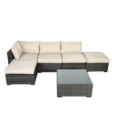 Look at this Mixed Coffee South Hampton Arrow Six-Piece Outdoor Sofa Set on #zulily today!