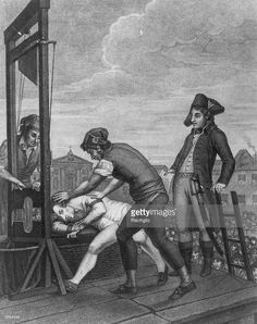 French revolutionary, Robespierre (Maximilien Marie Isidore de Robespierre) (1758-1794) being put to the guillotine after the French Revolution.