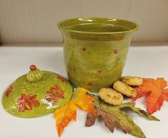 Italian Kitchen Ceramic Cookie Jar, Olive Green and Red Ceramic Canister, Wild Crow Farm Pottery