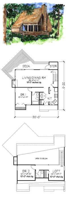 A-Frame Style COOL House Plan ID: chp-40663 | Total Living Area: 1039 sq. ft, 2 bedrooms  1.5 bathrooms. #houseplan #aframehouse