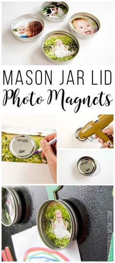 Upcycle your leftover mason jar lids with these super cute mason jar lid photo magnets! They'd make great inexpensive DIY gifts too! Super simple tutorial to make DIY upcycled mason jar lid magnets. They make great budget friendly gifts! Diy Photo, Photo Craft, Pot Mason Diy, Mason Jar Lids, Mason Jar Photo, Gifts With Mason Jars, Jar Lid Crafts, Mason Jar Crafts, Diy Magnets