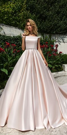 crystal design 2018 wedding dresses simple blush ball gown caps sleeves style josleen