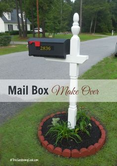 This budget friendly mailbox make over adds instant curb appeal to my front drive entry. You won't believe the before picture! Informations About Mail box Makeover Creates Curb Appeal Pin You can easi Mailbox Garden, Diy Mailbox, Mailbox Landscaping, Landscaping Ideas, Mailbox Decorating, Rural Mailbox Ideas, Country Mailbox, Mailbox Numbers, Gardens