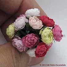 Multicolored peonies - Dollhouse miniature flowers.