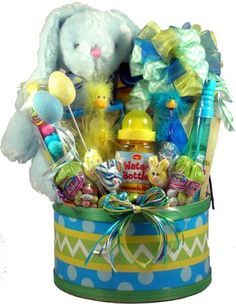 Easter Overload! Gourmet Easter Gift Basket -Large http://www.easterdepot.com/easter-overload-gourmet-easter-gift-basket-large/ #easter  This adorable, colorful, fun-filled, Easter basket will be a hit for any child this Easter! I would even venture to say that the Easter Bunny himself would be egg-stra impressed at this amazing basket of goodies! From activities, games and gifts- to snacks and sweets galore -this basket has it all and so much more!! Any child would love to do the di..
