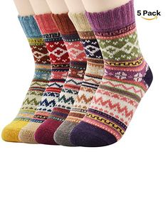 964747335f4bc7 Zando Athletic Retro Warm Soft Wool Crew Socks for Women Winter Autumn  Cotton Knit Thick Print Socks 5 Pack 5 Pack Shoe Size 611 >>> More info  could be ...