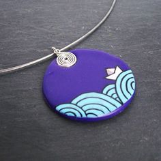 Necklace purple origami, big pendant encircles purple, fimo necklace drawing origami boat