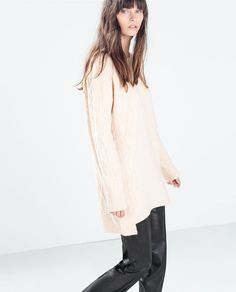 Image 2 of ASYMMETRIC HEM CABLEKNIT SWEATER from Zara