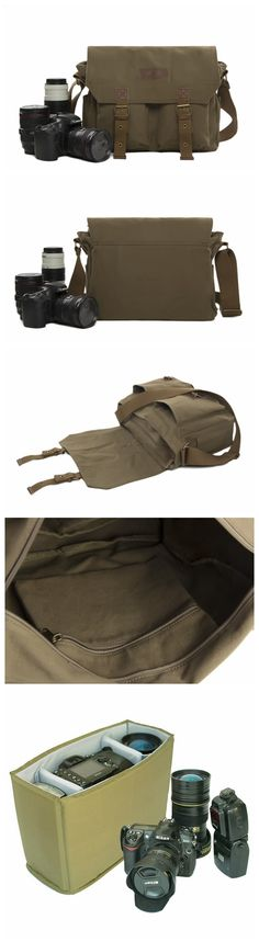 Waxed Canvas DSLR Camera Bag, Shoulder Bag, Messenger Bag, Diaper Bag