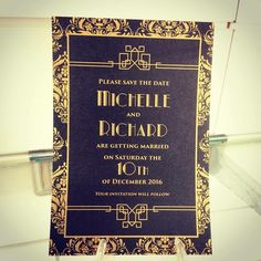 A beautiful Deco inspired Save the Date invitation Design in black and gold digital print #inspireddesign  #inspireddesigninvites  #weddingidea  #savethedateinvitation  #weddinginvitations  #bespokeinvitations  #weddinginspo  #weddinginspiration  #weddingstyling