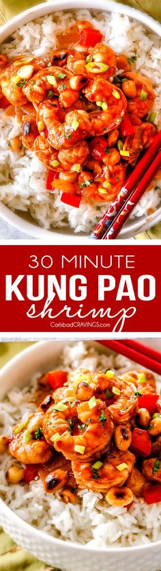 This easy, healthy, Kung Pao Shrimp tastes better than takeout and is on your table in less than 30 minutes! I was licking my plate of the savory spicy sauce! via @carlsbadcraving