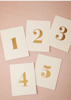 Gold foil print table numbers, BHLDN