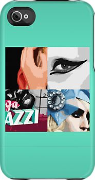 Lady Gaga Pop Art iPhone Case.    For the consummate Lady Gaga fan.  Design taken from a set of limited edition canvas paintings.    Unique Lady Gaga Pop Art Design comprising sleeves from:    'Poker Face'  'Paparazzi'  'Telephone'  'Born This Way'.
