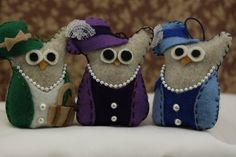 Owl Christmas Ornaments Felt Owl Ornament  Ladies Owl Set Handmade Owl Décor. $33.00, via Etsy.