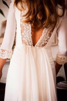 3/4 Sleeves White Low Back Lace Dress