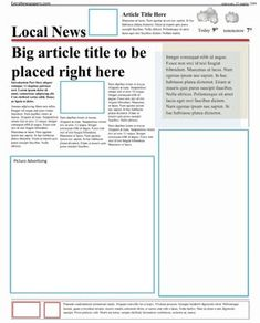 Newspaper Article Template  Newspaper Free Printable And Template