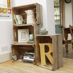 Wooden storage crates - Painting your wooden crates is a perfect way to get the style you're looking for without spending money on a new crates Wooden Apple Crates, Wooden Storage Crates, Crate Storage, Wooden Boxes, Storage Box On Wheels, Unusual Gifts, Home Decor Bedroom, Sweet Home, Interior Design