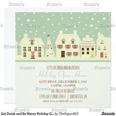 Eat Drink and Be Merry Holiday Open House Vintage Card