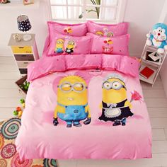 3D Bedding Set Minions Mickey Mouse Hello Kitty Printed for Kids Cotton Bed