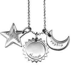 My universe necklace. The sun, moon, & stars! Would love this w/ my girls names.