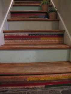 old rulers and yard sticks for stairs