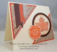 StampinTX: Fall / Thanksgiving Card with Magnificent Maple- love the pattern on the paper used in the corners- so autumn-y