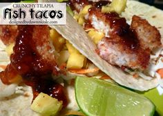 Crunchy Tilapia Fish Tacos: ightly breaded tilapia fried in coconut oil, served in warm organic flour tortillas and topped with cabbage and carrot slaw, pineapple, apricot ginger soy sauce and a squeeze of fresh lime.