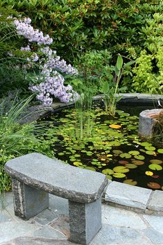 zen space at the side of an in ground cement garden pond Water Features In The Garden, Garden Features, Pond Design, Garden Design, Landscape Design, Ponds Backyard, Backyard Waterfalls, Garden Ponds, Koi Ponds