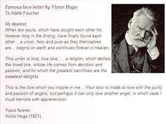 Famous love letter by Victor Hugo. Hugo was the author of Les Miserables and The Hunchback of Notre Dame, among others. I wish I could write like this.so passionate Love Letters Quotes, Love Picture Quotes, Love Poems, Love Quotes, Great Love Stories, Great Words, Love Story, Romantic Love, Hopeless Romantic