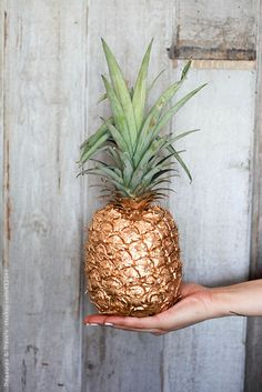 Hand holding out a painted pineapple by TreasuresandTravels | Stocksy United