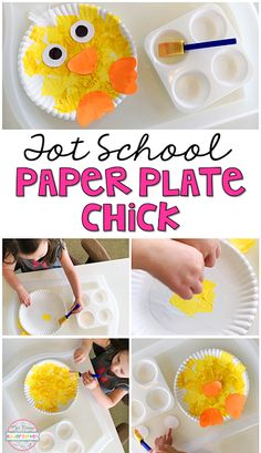 Easy and adorable chick paper plate craft for spring in tot school, preschool, or the kindergarten classroom. #craftspring