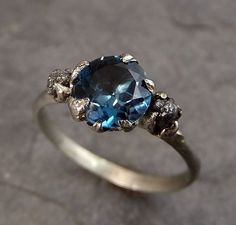 Raw Uncut Diamond London Blue Topaz White Gold Engagement Ring Wedding Custom One Of a Kind Gemstone Bespoke Three stone Ring by Angeline