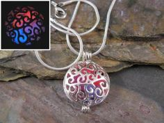 Caged Hearts Glow in the Dark Silver Plated Filigree Locket, Pink, Purple and Blue, Valentine, Love, Gift