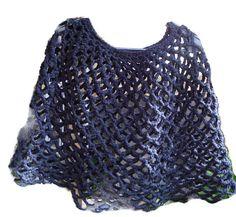 Charcoal Gray crochet  poncho cape caplet wrap by CherylsKnits, $30.00