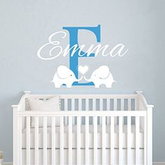 Personalized Name Wall Decals Elephant Custom Name Baby Boys Decal Children Nursery Girls Room Kids Wall Vinyl Decal Sticker Murals -- Learn more by visiting the image link. (Note:Amazon affiliate link)