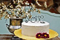 """rustic """"love"""" cake topper"""