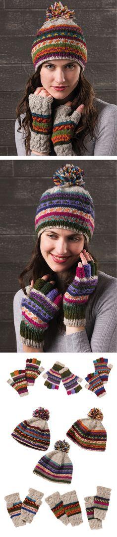 Hand made in Nepal, fairly traded by Namaste. Fair Trade, Nepal, Namaste, Hand Knitting, Winter Hats, Wool, Clothing, How To Make, Handmade