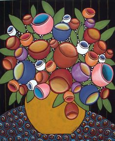 I'm not generally drawn to folk art, but I do like this one. Rug Hooking Paper Pattern Blooming Tulips Abstract Folk Art Karla G |