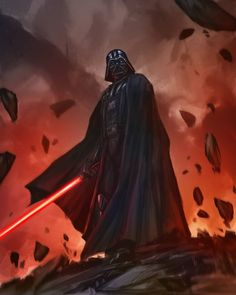 Darth Vader using a lightsaber. Art by Fadly Romdhani. See the Star Wars art of December 2016 here. Star Wars Fan Art, Star Wars Film, Star Wars Saga, Vader Star Wars, Star Wars Poster, Star Trek, Star Wars Pictures, Star Wars Images, Lord Sith