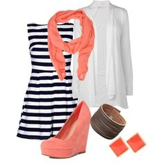 Coral and Stripes. Perfection by nicole