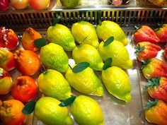 Frutta Martorana - Photo by Maria Lina Bommarito, Sicily. Beautiful, delicious Marzipan, shaped and painted to look like fruit.