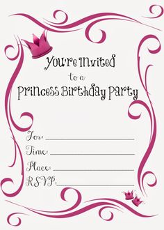 Free Printable Princess Birthday Party Invitations #freeprintables #birthday #invitations #princess #party #girls