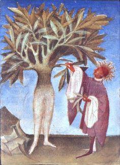 apollon et daphné Medieval Manuscript, Medieval Art, Illuminated Manuscript, Art Roman, Demonology, Book Of Hours, Illustration, Green Man, Fantastic Art