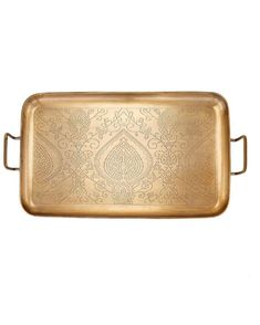 """Old Dutch 19"""" Tangier Gold Etched Tray 